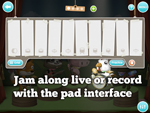 Jam along live or record with the pad interface
